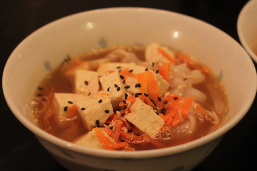 Soup with rice noodles and tofu