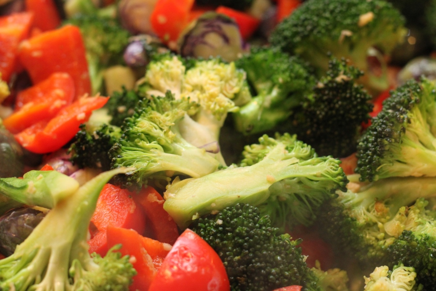 broccoli, red pepper, purple brussels sprouts