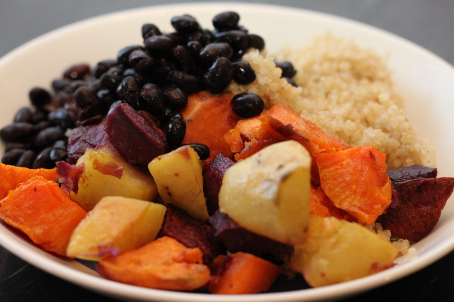 Roasted sweet potatoes with black beans and quinoa.