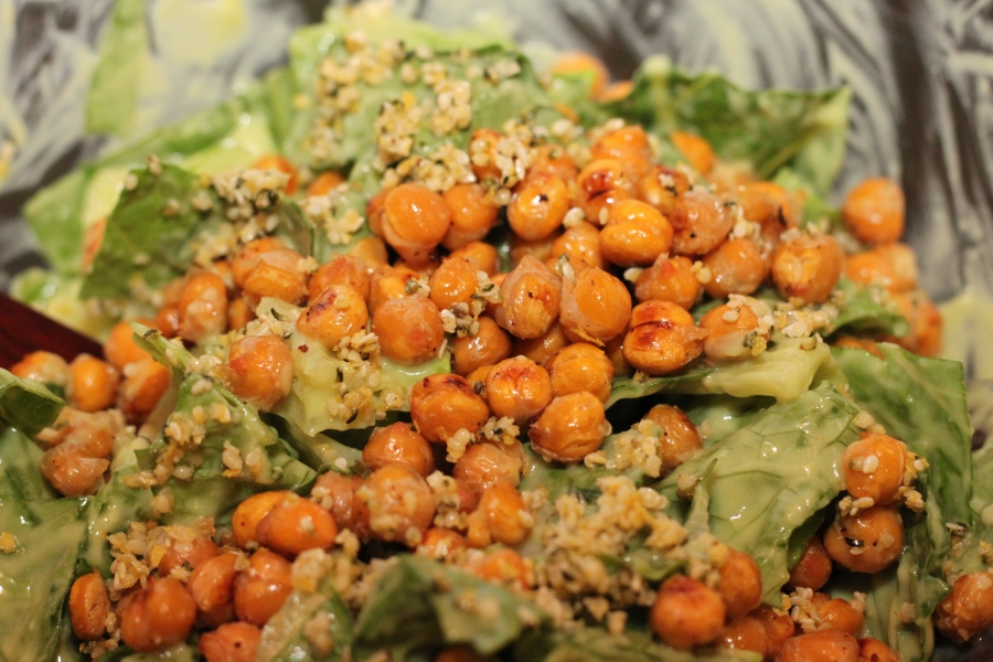 Vegan salad with roasted chickpeas and avocado dressing