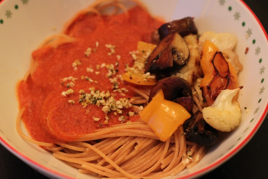 vegan spaghetti dinner